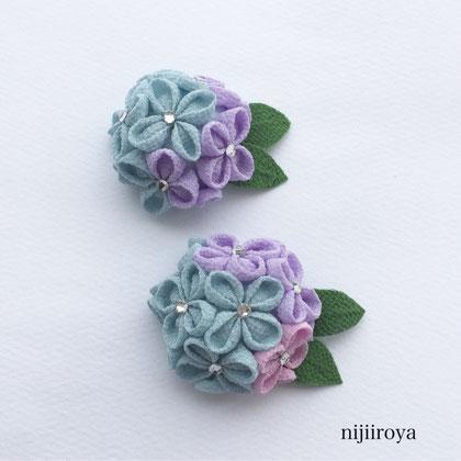 つまみ細工 紫陽花のブローチ2
