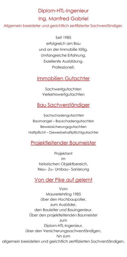 Bausachverständiger Oberösterreich Immobilien Gutachter Manfred Gabriel