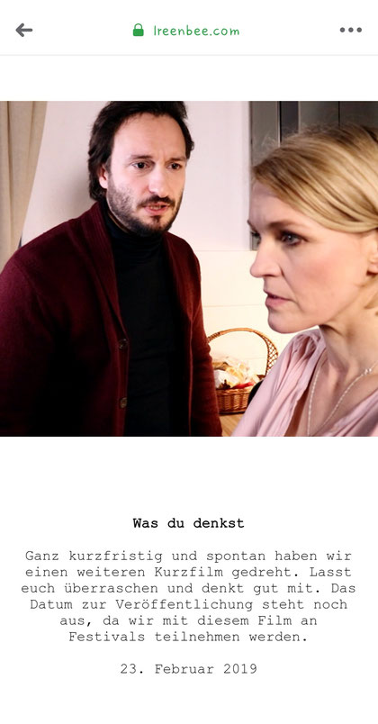 Was du denkst Kurzfilm mit Erik Köhler, Karoline Scholze (SOKO Leipzig, Ireenbee-Produktion