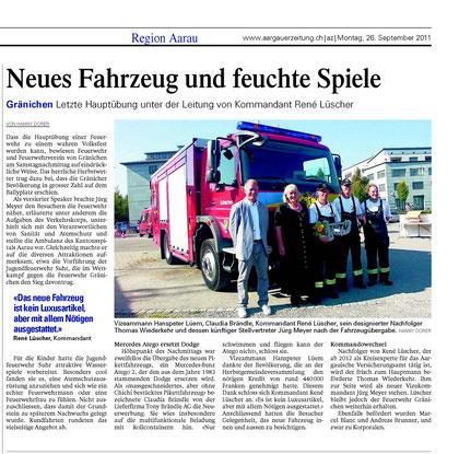 Bericht AZ Aargauar Zeitung vom 26. Sept. 2011