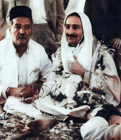 Meher Baba with his uncle Rustom Masaji Irani. Image colurized by Anthony Zois.