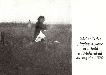 Baba swinging the bat, playing cricket - Courtesy of Lord Meher ; Vol.3 - p.760