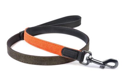 Hundeleine Milano Orange Khaki schick Cord Leder