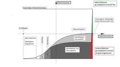 Hier wird die normale und schlechtestmögliche'Lebens-Erkenntnnis-Kurve dargestellt, auf der man ein 'Wie bin ich?' ungefähr ablesen kann..