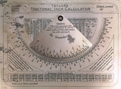TAYLOR'S Fractional Inch Calculator, entered at Stationer's Hall, 16x12 cm