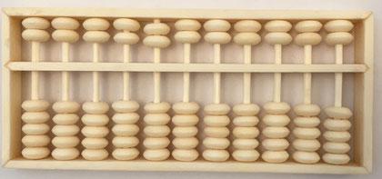 """Pequeño ábaco chino """"son pan"""" de hueso, 11 columnas, 12x5 cm"""
