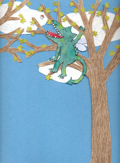 Lola Renn Illustration, Drache im Baum, Bilderbuch