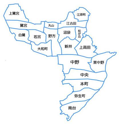 中野区の地図