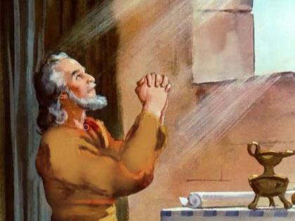 Le prophète Daniel est en exil à Babylone depuis la première déportation de l'élite judéenne en 605 av J-C. Daniel reçoit, de la part de l'ange Gabriel, la prophétie dite « des 70 semaines d'années » alors qu'il est en train de prier Jéhovah avec humilité