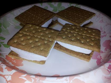 Keks, Schokolade und Marshmallow! Und das warm, eigentlich fürs Lagerfeuer, aber auch mega lecker aus der Mikrowelle!! :-)