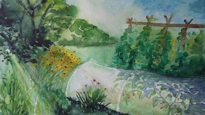 Aquarell aus dem Saatgutfilm Longo maï, Limans, Provence