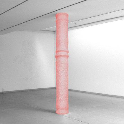 Säule (zwei Stockwerke verbindend), Knetmasse, 437x57 cm (oben)