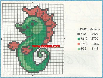 """Схема для вышивания:""""Морской конёк"""""""