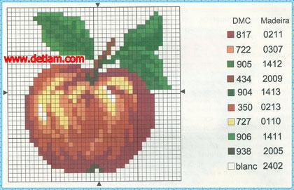 """Схема для вышивания:""""Яблоко"""""""