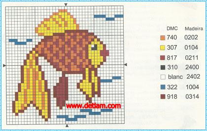 """Схема для вышивания:""""Золотая рыбка"""""""