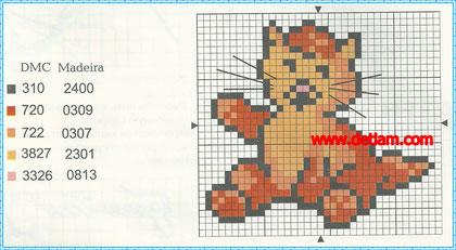"""Схема для вышивания:""""Котёнок"""""""
