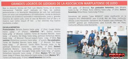 Nota publicada por la revista marplatense Tiempo deportivo en su edición de junio de 2010