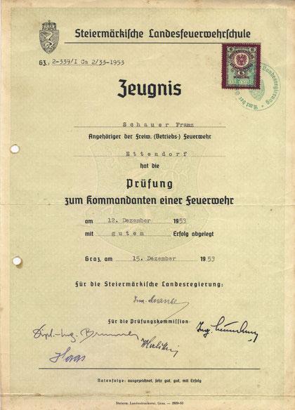 Zeugnis des ersten Kommandanten Schauer Franz