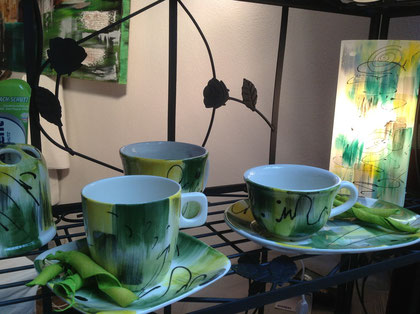 Keramiktasse-Teetasse,Kaffeetasse in den Farben grün und rot-orange, sehen wirklich toll aus!! Auf Wunsch mit oder ohne Untertasse