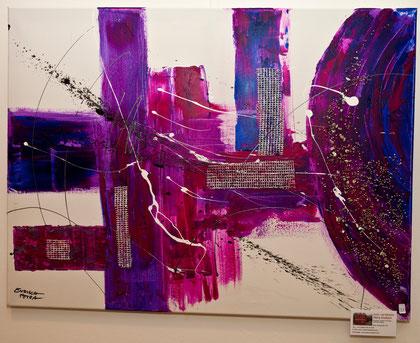 "Acrylbild,""Lila Welten"" mit eingearbeiteter Keramik"