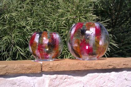 """Glasvase rund, Muster """"LEONIE"""", klein €25,- groß €45,-"""