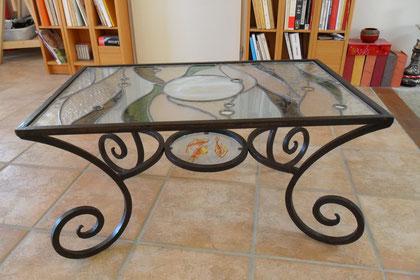 table vitrail au plomb et peinture émail- Art du Vitrail