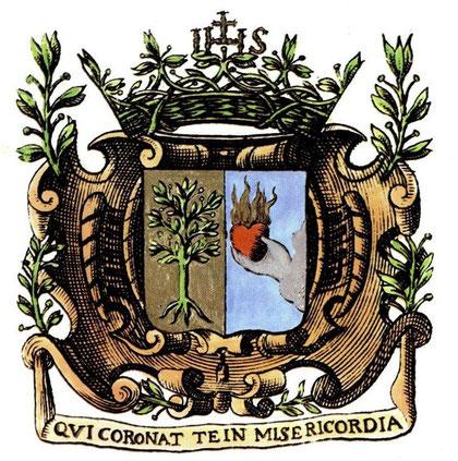 Arbre biblique, l'olivier est un des  symboles des Augustines. Le coeur flamboyant de St Augustin constitue la 2ème moitié du blason.