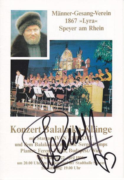 Programmblatt mit Autogramm Ivan Rebroff