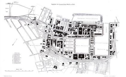 Lageplan der Kaiserlichen Werft zu Kiel
