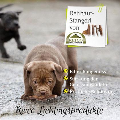 Ein Edler Kaugenuss für jeden Hund Rehhaut-Stangerl von Reico Vital. Reico`s Rehhaut-Stangerl sind nicht nur eine köstliche Belohnung für den Hund,  sondern stärkt auch die Gebissmuskulatur deines Hundes.