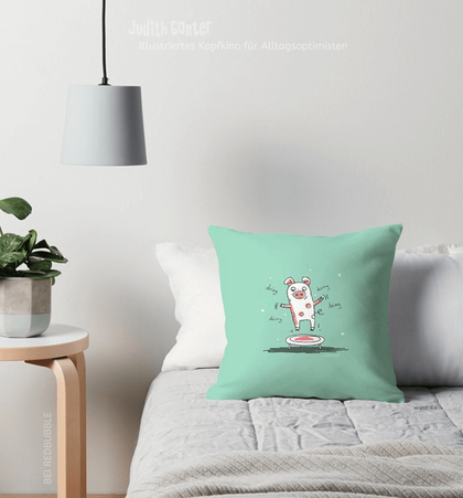 Kissen mit Tiermotiven – Schwein Trampolin lustig – Illustration Judith Ganter – bei Redbubble – Globaler Online-Marktplatz für Print-on-Demand-Produkte - Geschenkideen mit Bildern