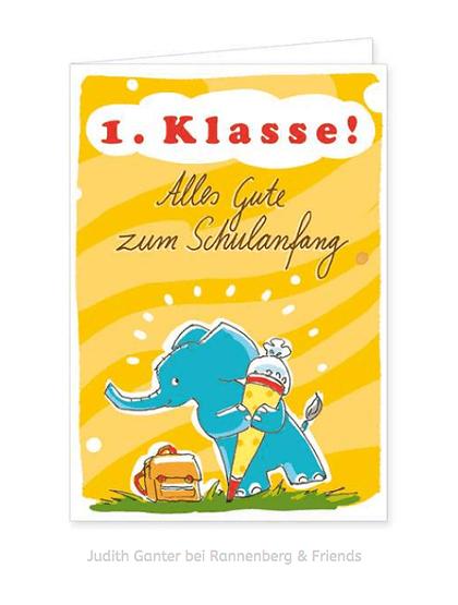 Alles Gute zum Schulanfang! Einschulung Karte mit Elefant / Judith Ganter Illustration und Spruch bei Rannenberg & Friends - grußkarten kaufen