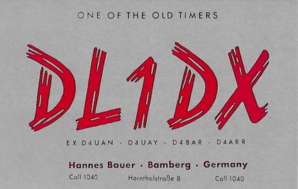 Qsl originale dell'Ing. Hannes Bauer DL1DX