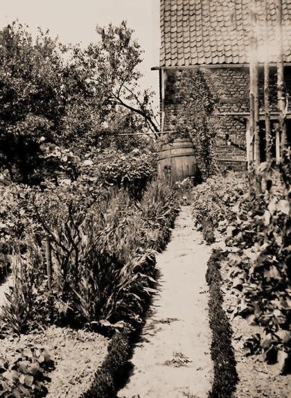 Historisches Foto des Künstlergartens nach 1945