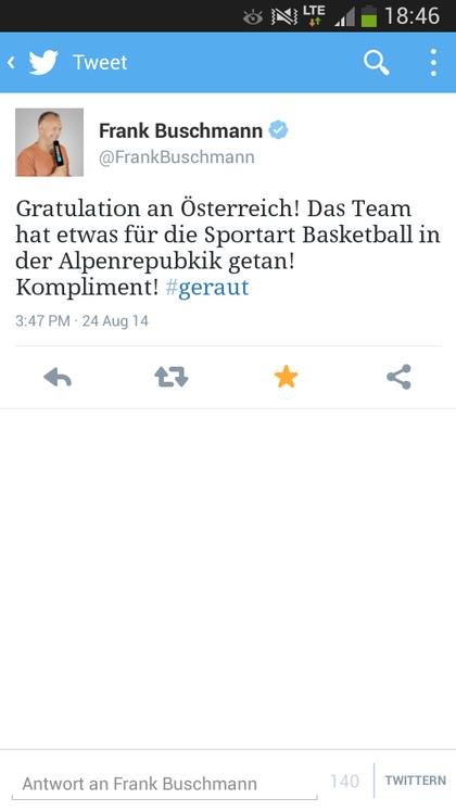 Tweet von Frank Buschmann
