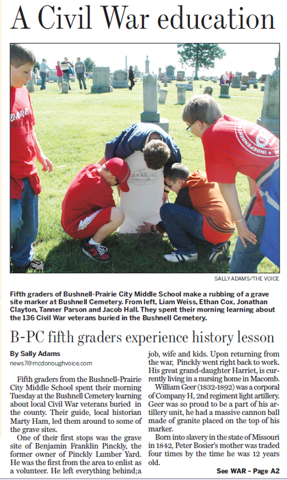 reprinted by permission of Sally Adams - from the McDonough County Voice, May 19, 2011 - front page