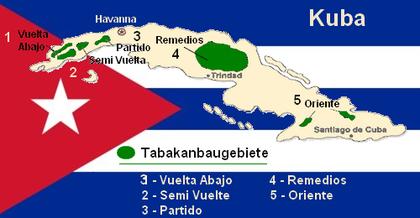 Tabakanbaugebiete auf Kuba