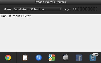 Das Diktierfenster für Dragon Express auf Mac
