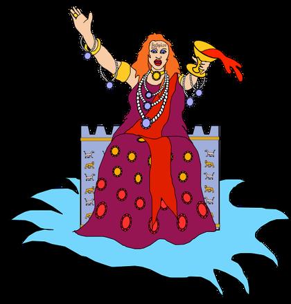 """""""Viens, je te montrerai le jugement de la grande prostituée qui est assise sur les grandes eaux"""". Sur son front était écrit un nom, un mystère: """"Babylone la grande, la mère des prostituée."""" Babylone la grande est l'empire mondial de la fausse religion."""