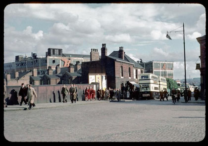 Golden Hillock Road 1953 photo by Phyllis Nicklin - See Acknowledgements, Keith Berry. Of the two buildings in the centre, Small Heath Station is on the left, a pub on the right; the BSA factory is in the background. Thanks to Rod Liddiard for information
