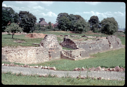 Weoley Castle south-west view 1960. Photograph by Phyllis Nicklin 1960.  Image reusable under Creative Commons licence Attribution-NonCommercial-ShareAlike 2.5 Generic (CC BY-NC-SA 2.5)