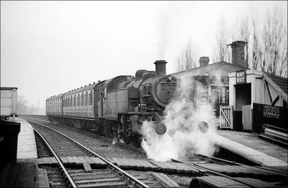 Ivatt 2-6-2T 41370 at Chester Road Station, Four Oaks-to-New Street 25 February 1956, the last day of steam operation. Photograph courtesy of Robert Darlaston 'All Rights Reserved' See Acknowledgements.