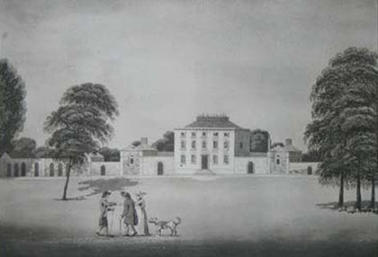 Moseley Hall, home of Lady Carhampton, drawn at the time of the 1791 Riots by P H Witon Jnr. Image believed to be in the public domain.
