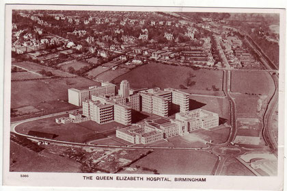 Queen Elizabeth Hospital 1949. Image from Our Past History - see Acknowledgements. The buildings at the front of the complex are those of the Medical School.
