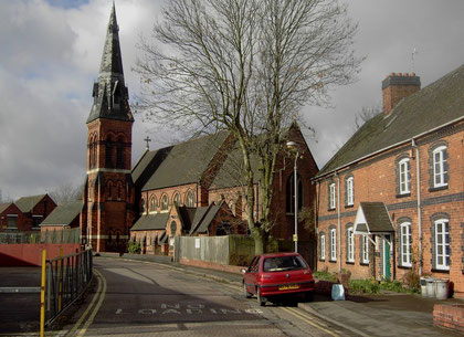 St Cyprian's Church - the Webster & Horsfall factory can be seen in the background (left).
