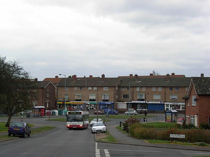 Falcon Lodge shops - looking down Carhampton Road to Churchill Road.