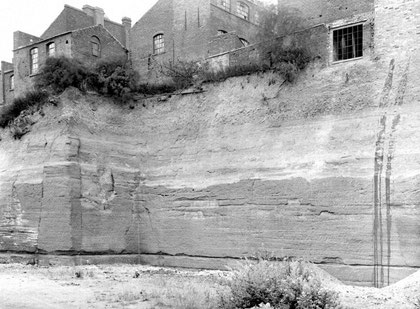 Sandstone quarry at Key Hill. Image from the British Geological Survey website, Geoscenic by J Rhodes in 1921 and used in accordance with the terms and conditions on that website - see Acknowledgements.