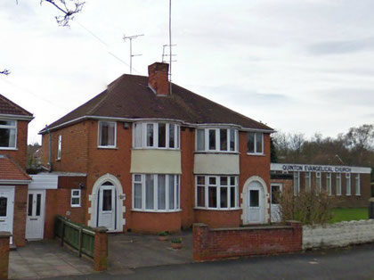 Private houses typical of the district in Worlds End Lane near the junction with Ridgacre Road - Click to go to Google Maps. The church (right) stands on the site of Worlds End Farm.