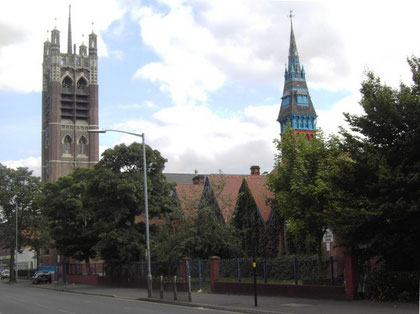 Ladypool School, viewed from the Stratford Road; tower of  St Agatha's Church.