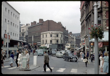 Photograph of High Street, Bull Street and Dale End corner taken in 1960 by Phyllis Nicklin roughly from the former site of the Welsh Cross. See Acknowledgements - Keith Berry.